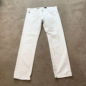 AG White Matchbox Slim Straight Jeans